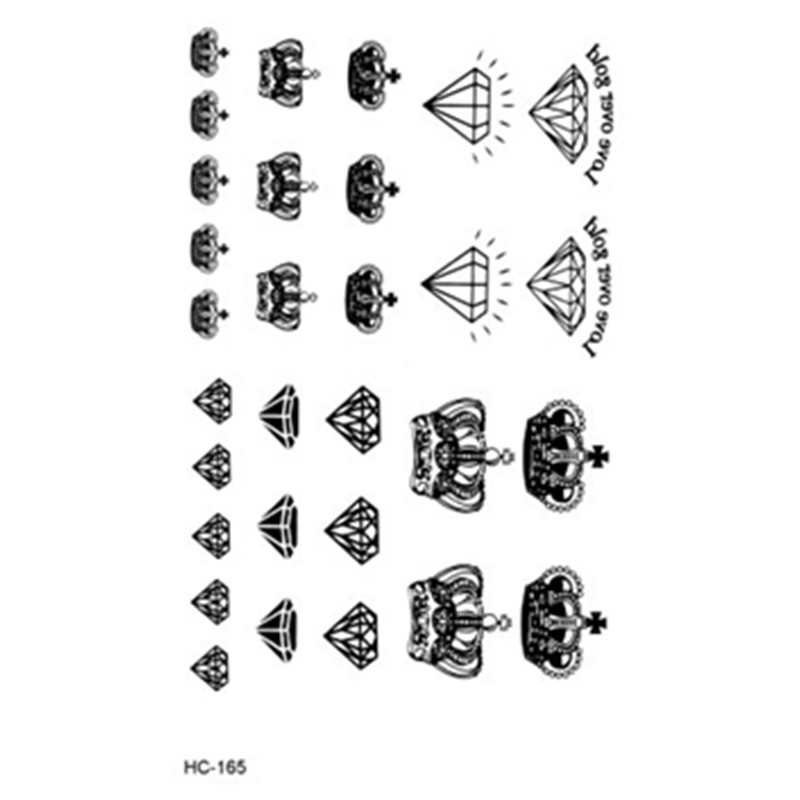 Waterproof Fake Tattoo Stickers Black Fast Tattoo Little Diamonds and Crowns Water Transfer Temporary Tattoos Sticker 1165(China (Mainland))