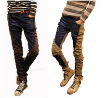 Korean spring/summer 2012 jeans skinny feet tailor trousers special quilt stitching jeans men pants new Free shipping(China (Mainland))