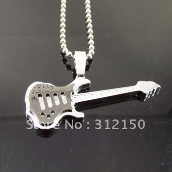 12pcs/lot Fashion Necklace mens Stainless steel Ball Chain best selling men's steel guitar Pendant Necklace Bass Music Necklace