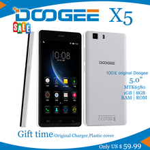 NEW Smartphone Doogee X5  MTK6580 Quad Core 1.5GHz 5.0Inch HD 1GB RAM+8GB ROM Dual SIM WCDMA 8.0MP Camera 2400mAH Android 5.1