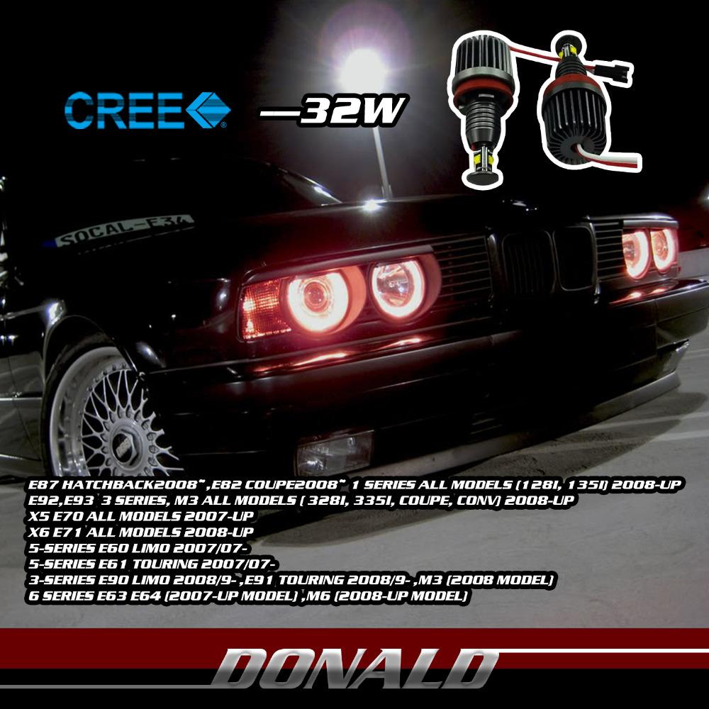 2x 32W 64W /Set CAR CREE LED 4SMD 1700LM WHITE HEADLIGHT Angel Eye Marker Ring w/ Constant Current For E60 E63 E90 E92 3 5Series(China (Mainland))