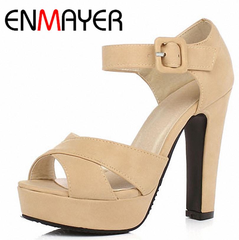 ENMAYER 2014 new Ankle Strap summer shoes women high-heeled sandals fashion women Sandals wedding girls sandals big size34-43