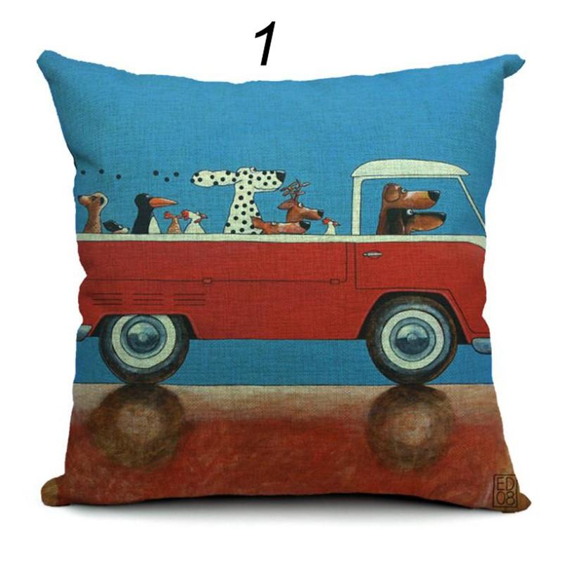 Hot Sale Pillow Lovely Cartoon Dog Driving Car Vintage Almofadas 45X45CM Linen Pillow Decorative Linen Cushion Cover