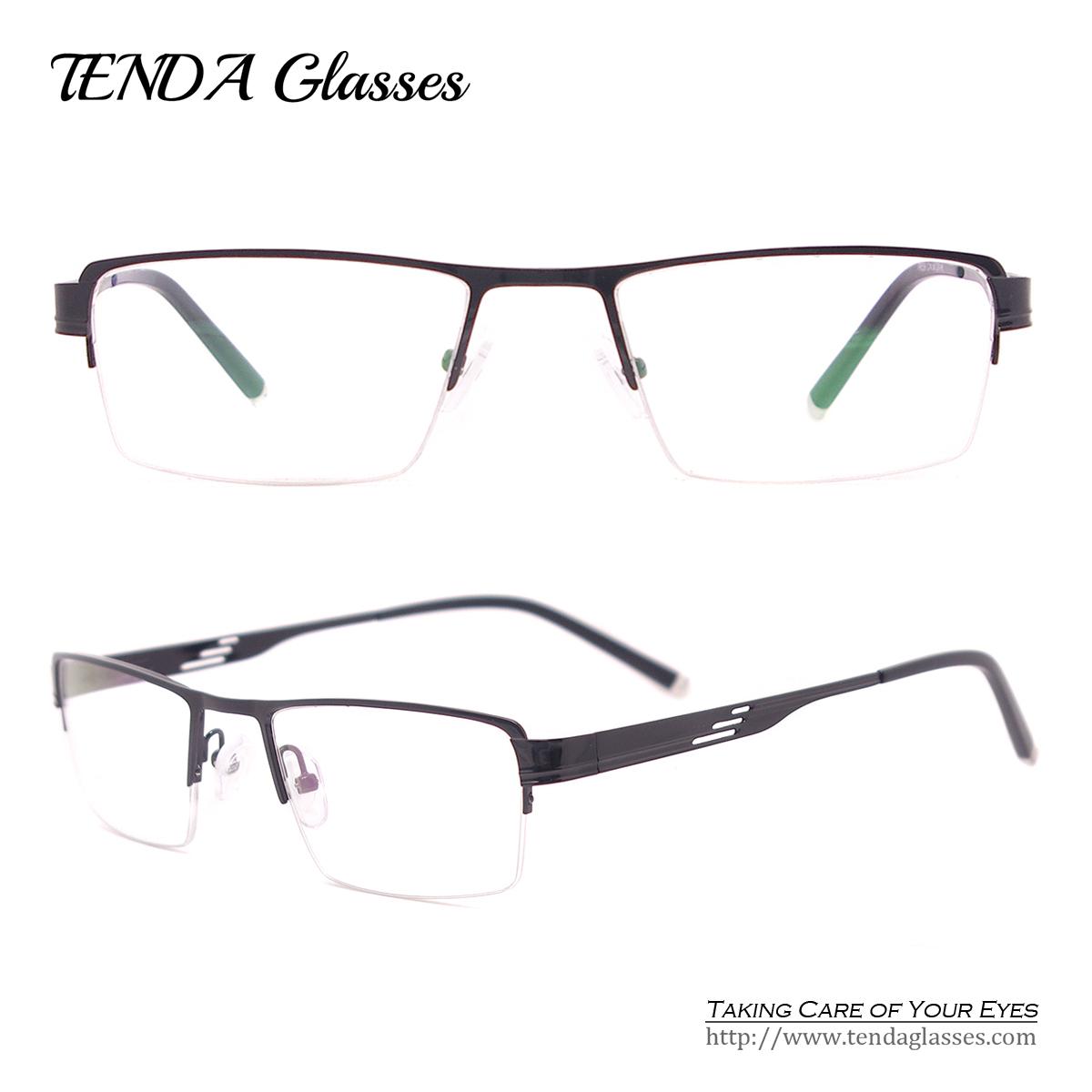 Metal Fashion Glasses Half Rim Rectangle Big Eyeglass Frames For Prescription Lenses(China (Mainland))