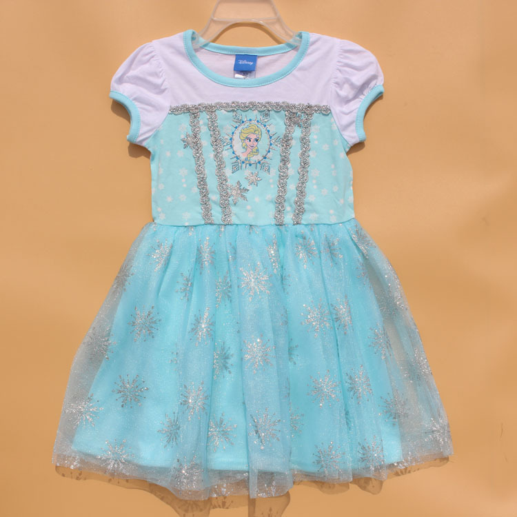 Perfect Quality SIZE 4T Princess girls childrens kids dress summer short sleeve girl dresses fancy costume cosplay costumes(China (Mainland))