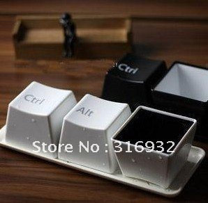 D1 Free shipping,Cute Kids Plastic Coffee Keyboard cups,1set=3pcs (Ctrl+Del+Alt )