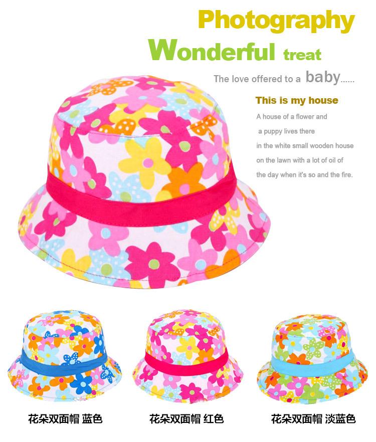 2015 Summer Hot Selling Flower Polka Baby Bucket Hat Kids Infant Toddler Girl Cotton Summer Bucket Sun Visor Cap(China (Mainland))