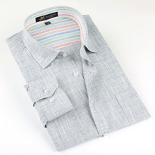 Brand high quality Linen Men's Shirts Long Sleeve Male Casual Business Shirts Flax dress shirt for man(China (Mainland))