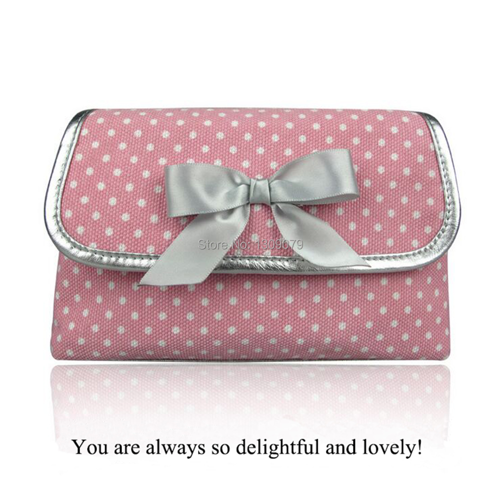 HOTHigh quality/Pink Dot Travel Toiletry Cosmetic Makeup Bag Organizer+Cosmetic Cases Stainless steel magnetic button and zipper(China (Mainland))