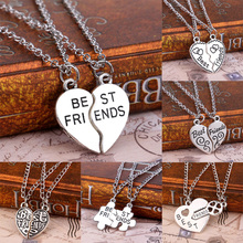 Buy 2 PCS Fashion Heart Puzzle Key Lock Best Friends BFF Necklace Friendship Women Men Jewelry Pendant Necklaces Chain Collier for $0.95 in AliExpress store