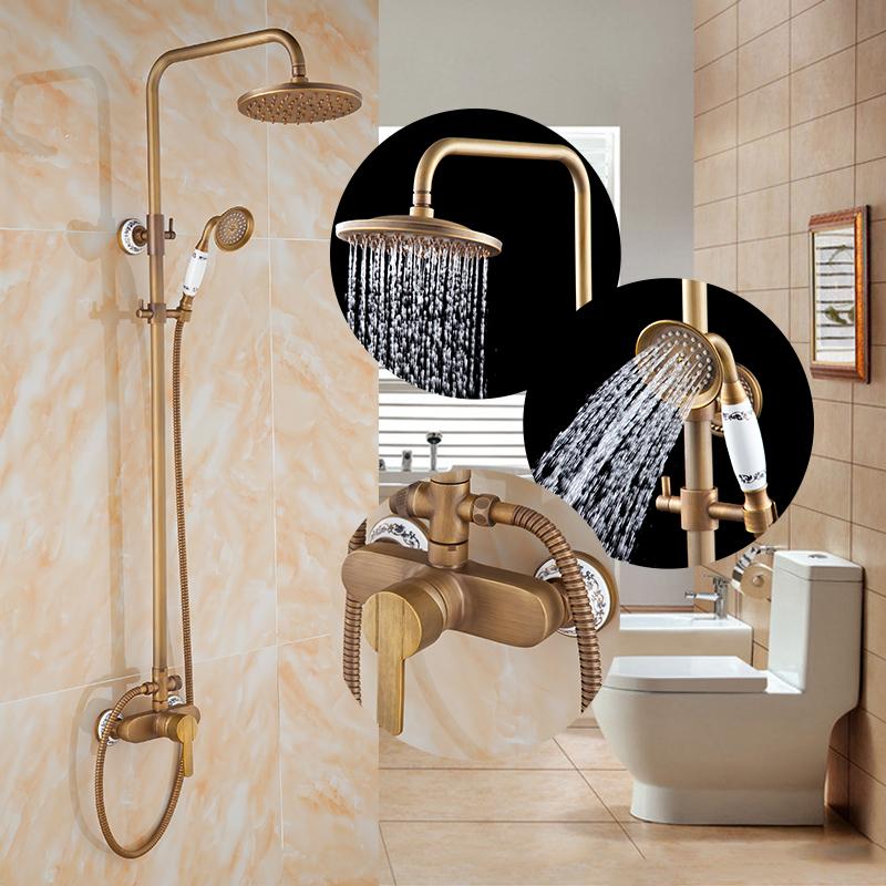 ванная комната, дождевой душ смеситель античная медь душевой гарнитур настенный бронза классик смеситель для душа керамический краны с ручным душем