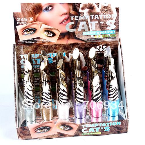 Eyeliner Liquid Eyeliner Eye Liner 24pcs/lot 6 color Eyeliner With Display Stand Eye Line Extreme Shining Eyes LM1967