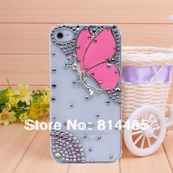 Handmade diamond butterfly case for iphone4 4s case phone bag protective sleeve shell phone shell diamond