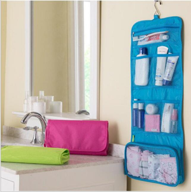 Korean multi-functional cosmetic bag travel wash bag Storage bag Portable and folding storage Boxes Green blue Rosy cosmetic bag(China (Mainland))