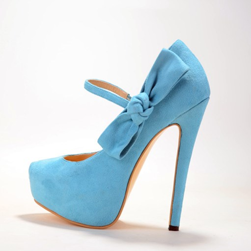 2015 Sweet Style Suede Leather Women's Stiletto Heel Pionted Toe Solid Bule With Bowtie Heel zapatos mujer Pumps