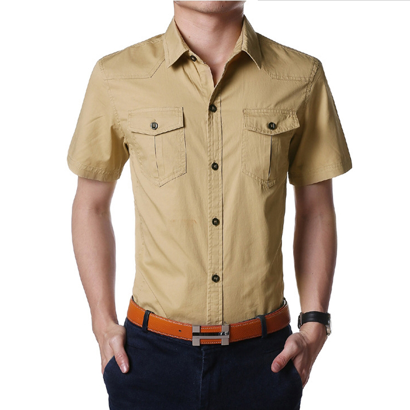New Arrival 2016 men shirt excelent Quality Solid Shirts Cotton Short Sleeves shirt Fashion Casual chemise homme slim fit(China (Mainland))