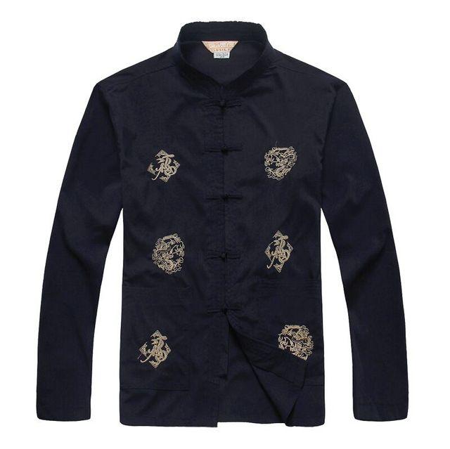 Высокое качество темно-синий традиционная китайская людей хлопка кунг-фу рубашка ...