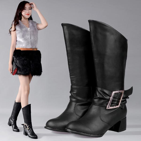 Фотография Autumn New Arrivals Fashion buckle Low Heel Ridding boots Mid-Calf Boots chunky heel half knee boots Sexy Medium canister boots
