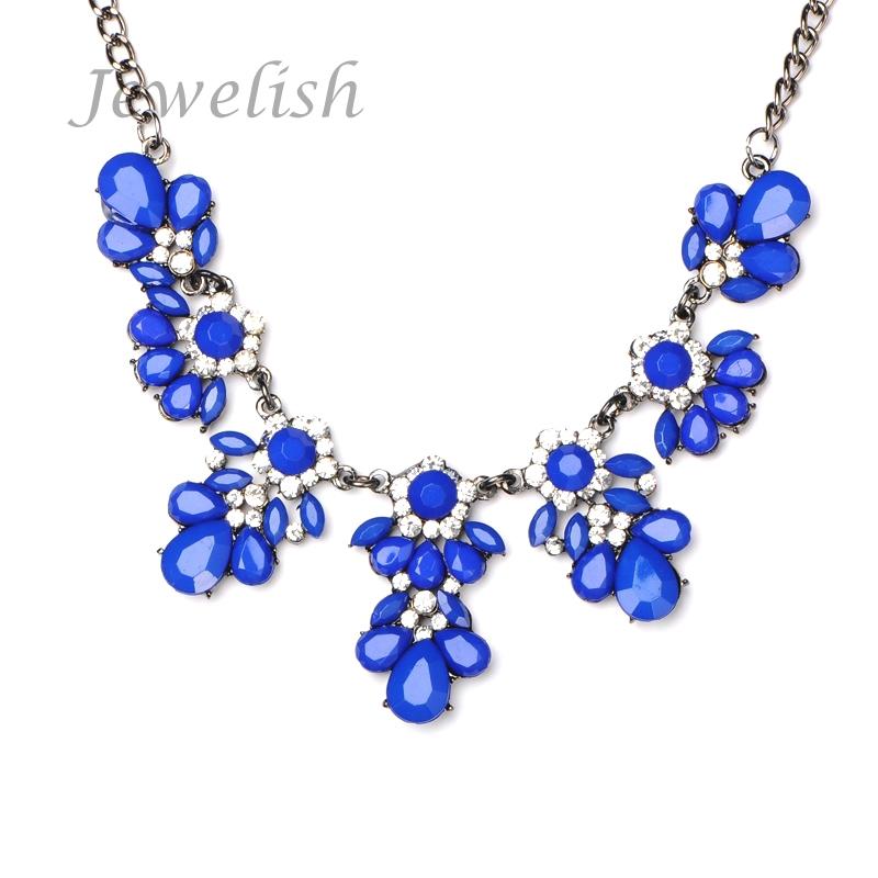 Flower Shourouk Choker Jewel Bib Statement Women Girl Necklace Chains Crystal Black Plated Alloy Acrylic Rhinestone Black/Blue(China (Mainland))