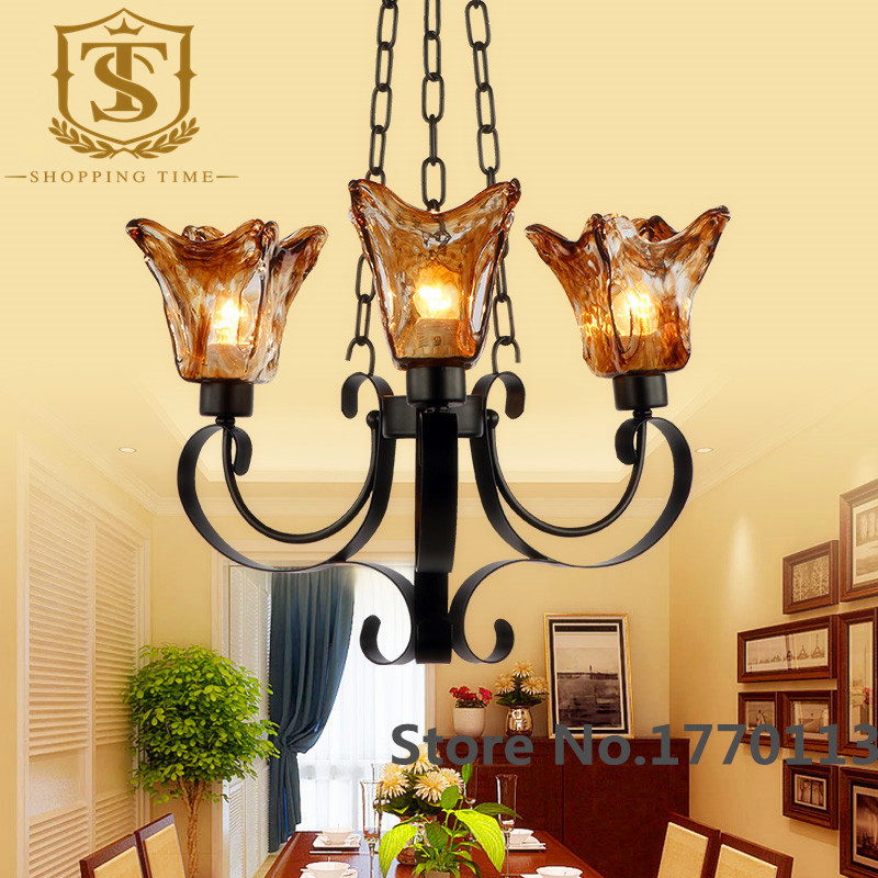 Tiffany color glass iron chandelier for hotel 060<br><br>Aliexpress