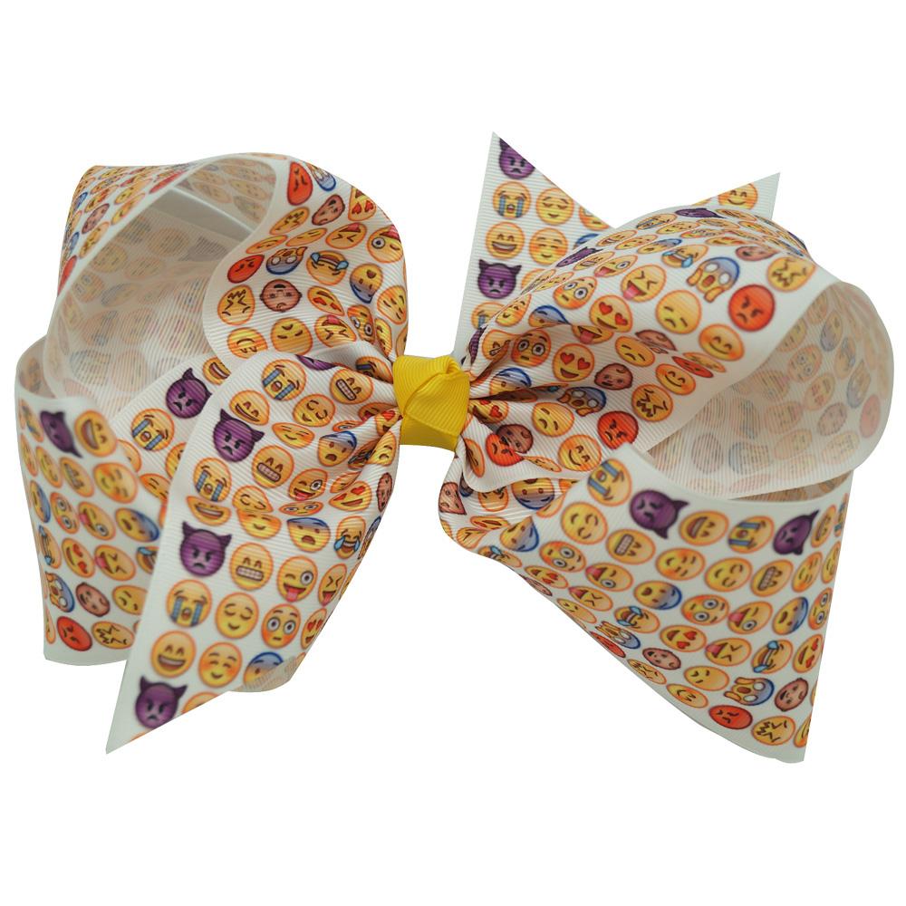 Ha hair bow ribbon wholesale - 30 Pcs Lot Boutique Ribbon Large Emoji Hair Bow For Girls Kids Big Grosgrain Bows
