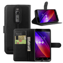 Asus Zenfone 2 ZE550ML ZE551ML Case 5.5 inch Skin Flip Card Slot Bags Phone Cover Lichee Pattern Wallet PU Leather - Shop2945066 Store store