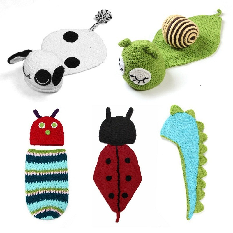 5 style in 1 set Infant Photo Props Funny Crochet Knit Newborn Baby Photography Props Photo Costume Snail Sheep Dinosaur Hat(China (Mainland))