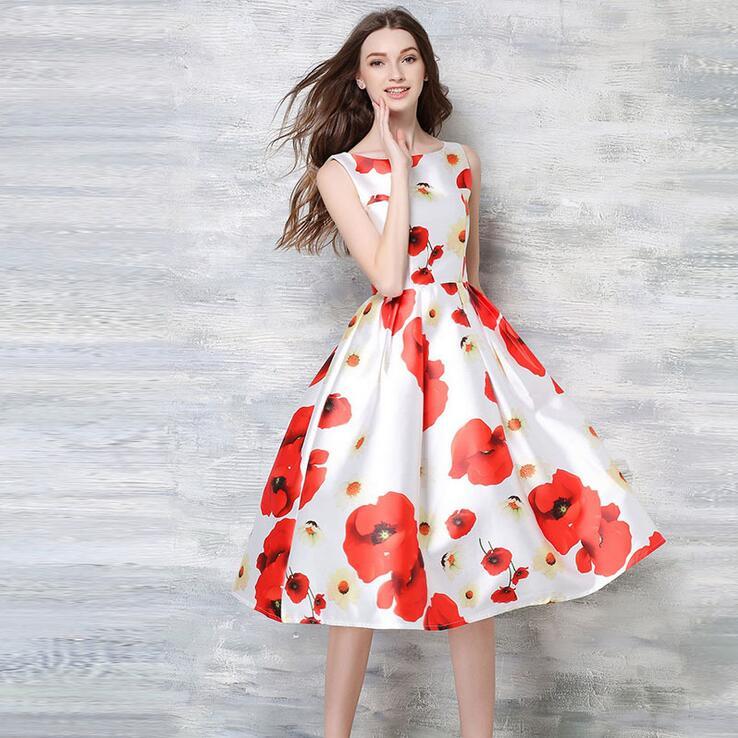 Women Dress Summer Style Hot Red Floral Print Sleeveless 60s 50s Rockabilly Dresses 2016 Casual vestidos largos de verano(China (Mainland))