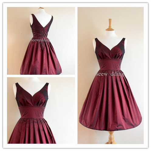 Custom made plus size burgundy short bridesmaid dresses for Burgundy wedding dresses plus size