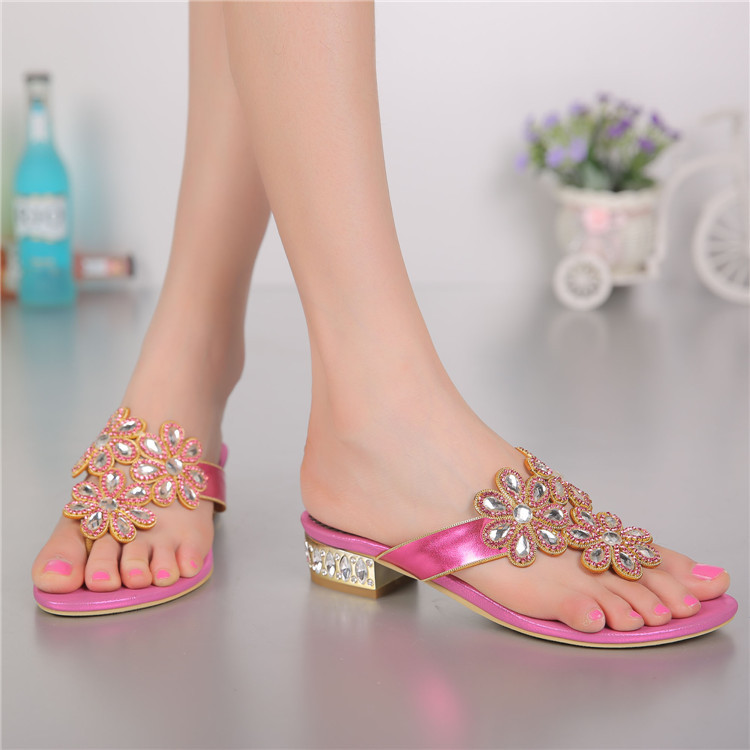 Fashion Crystal Wedge Sandals High-Heeled Summer Shoes Women 2016 New Genuine Leather Elegant Diamond Cool Slippers Flowers