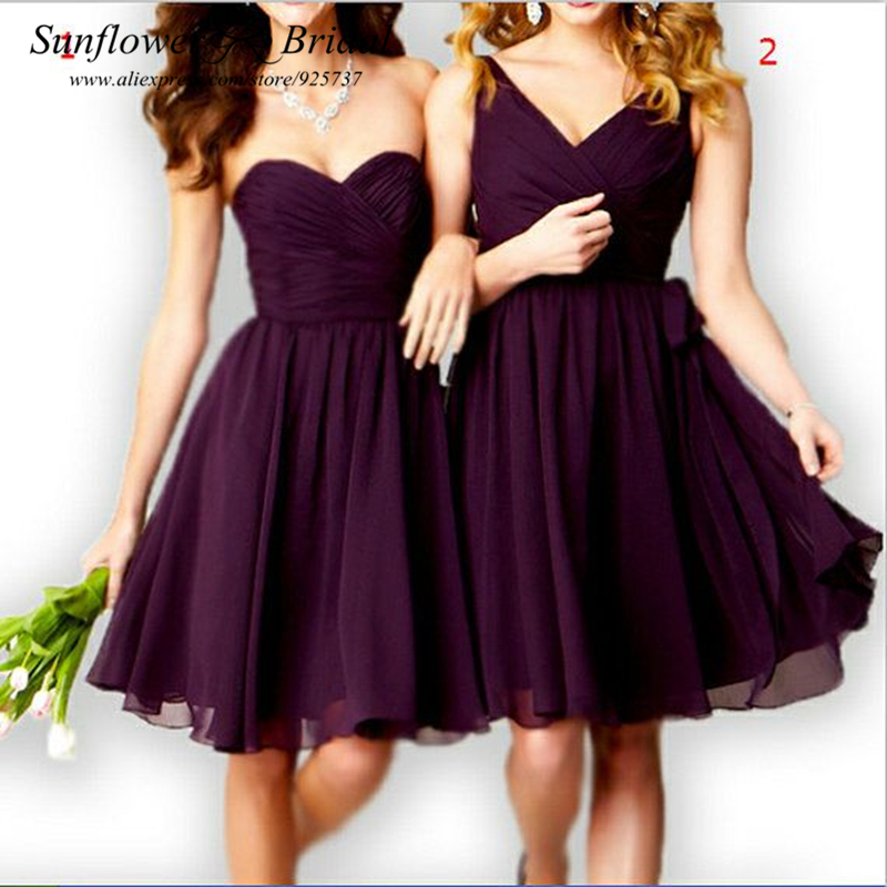 Purple Bridesmaid Dresses Short Bridesmaid Dress Chiffon Beach Bridesmaid Dress Knee Length Short Wedding Party Bridesmaid Gown(China (Mainland))