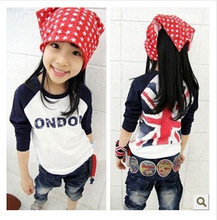 2015 new summer style children's clothing Union Jack cotton long-sleeved T-shirt letter shall Flag T-Shirts free shipping