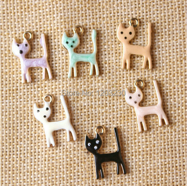 Free shipping 50pcs/lot Best quantity mix  Alloy Drop oil abstraction kitten charms gold palted fit diy decoration material <br><br>Aliexpress