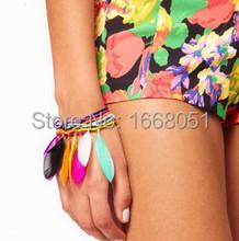 Color feather beads multilayer hand chain bracelets & bangles pulseiras femininas bohemia bracelet women fine jewelry wholesale(China (Mainland))