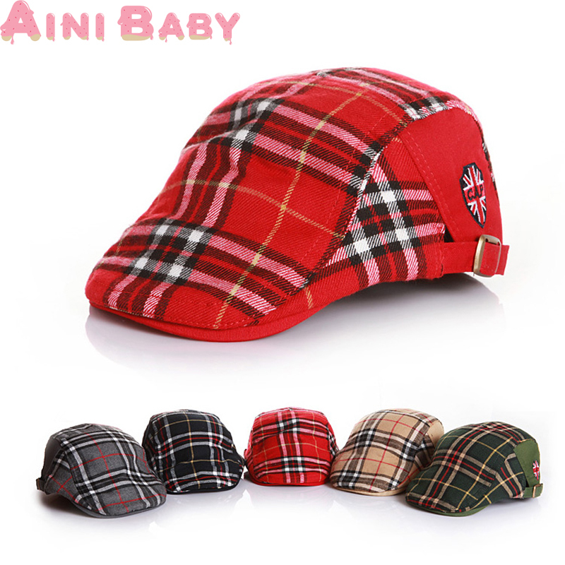 Free Shipping!! 2015 New Plaid Pattern Fashion Winter Child Hat Cute Unisex Kid Baby Beret Girl Hat For Boy Cap Baby Hat(China (Mainland))
