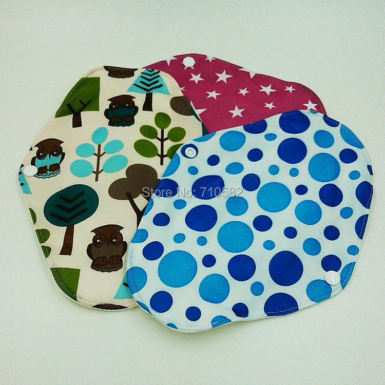 Free Shipping 6pcs/lot Beautiful Patterns Mama Cloth Washable Feminine Pads Bamboo Material Daily Use Sanitary Napkins(China (Mainland))