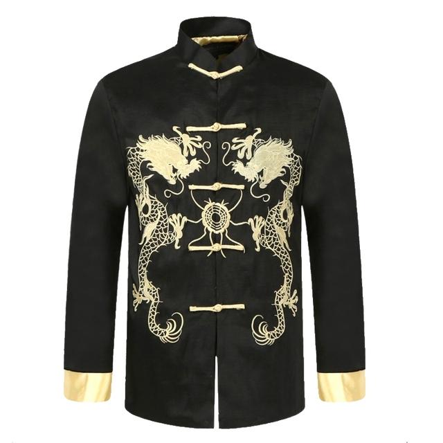Черный традиционный китайский мужчины шелковый атлас пальто старинные кунг-фу куртка ...
