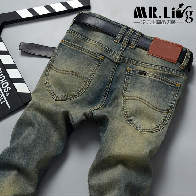Pantalones хомбре вакерос мужчины джинсы брюки уменьшают подходящий робин байкер ...
