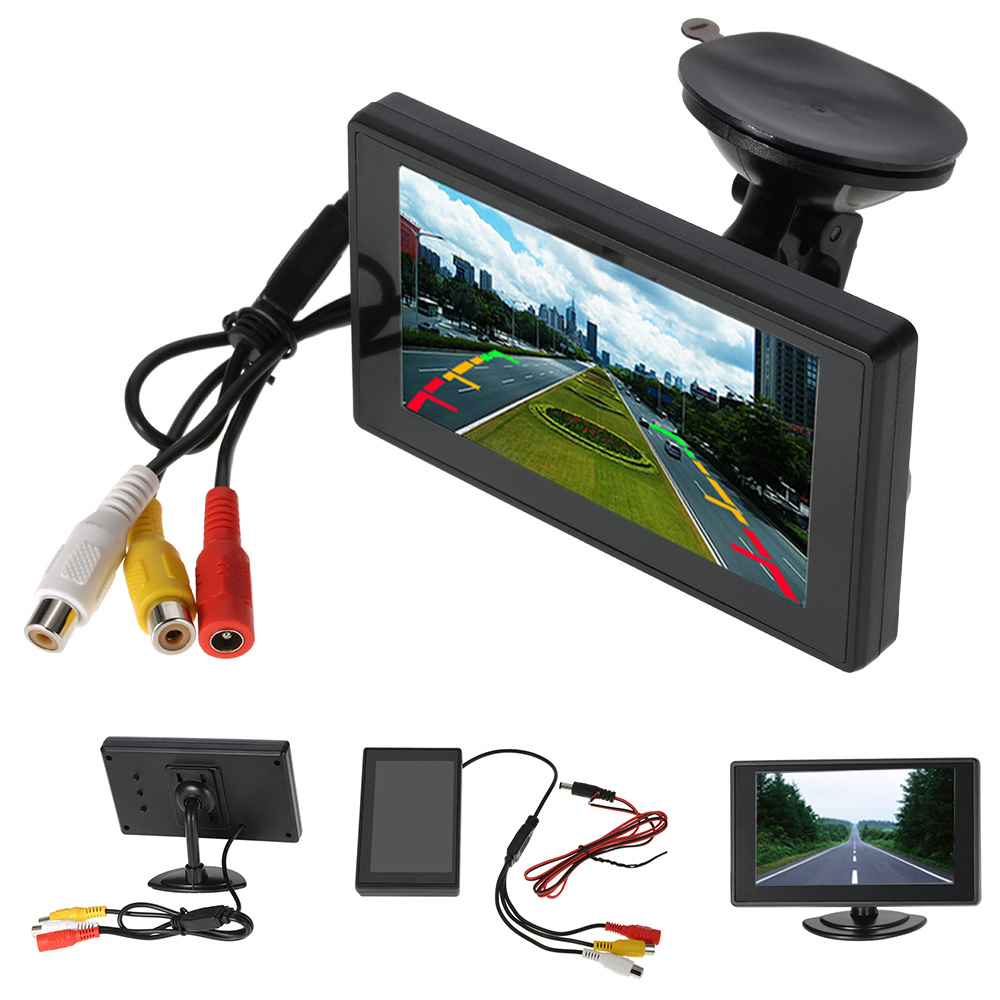 """4.3"""" Inch Car Monitor TFT LCD Screen Digital Color Rear View Monitor Support VCD DVD GPS Camera with 2 Video Inputs+Suction Cup(China (Mainland))"""
