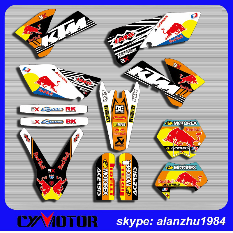 FREE SHIPPING KTM EXC MODEL 05 06 07 MOTORCYCLE 3M TEAM GRAPHICS BACKGROUND DECALS STICKERS KITS<br><br>Aliexpress