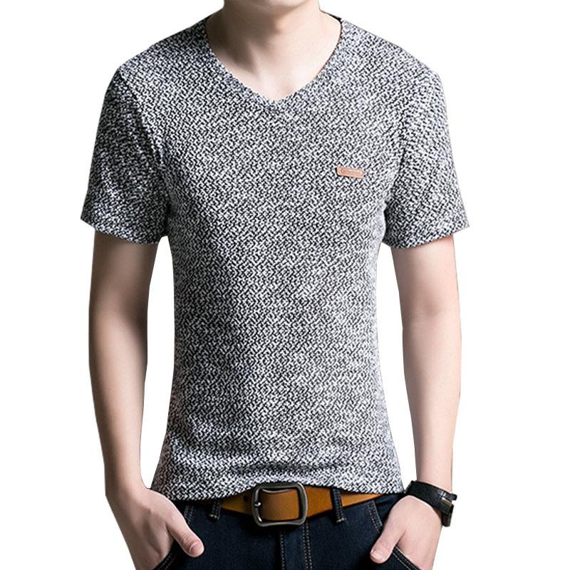 Hot sale! 2015 summer men casual v neck short sleeve t shirt cotton t-shirt men Leather decorative t-shirt F791(China (Mainland))