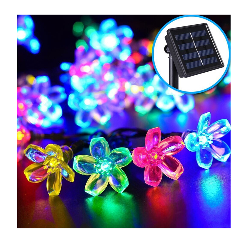 Solar Power Fairy String Lights 9.4M 50 LED Peach Blossom Garden Lawn Patio Christmas Trees Wedding Party Decoration Light Lamp(China (Mainland))