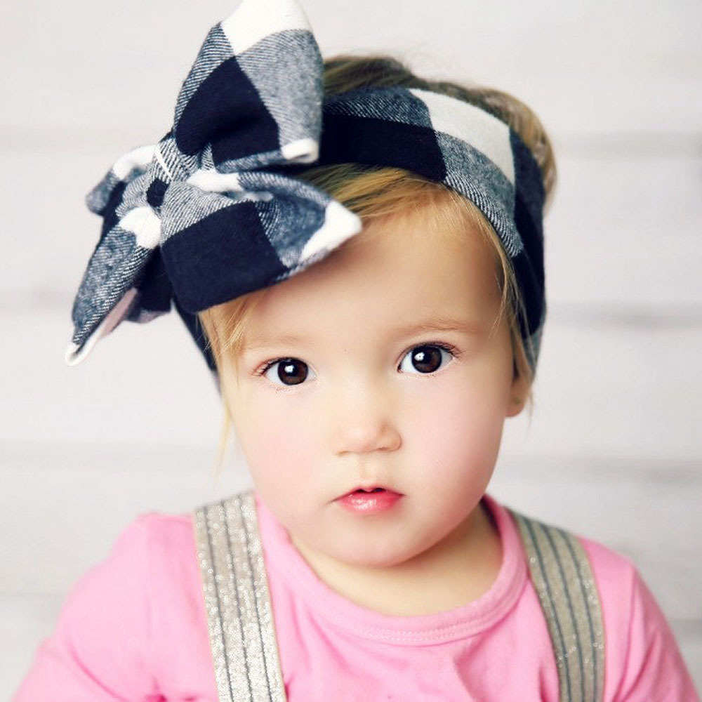 DIY plaid baby hairbow for girls headwrap cute cotton headband big bowknot hair accessory gift(China (Mainland))