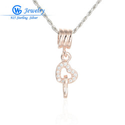 Necklaces & Pendants Heart Charms 925 Sterling Silver Rose Gold Jewelry For Women Jewelry LW342B