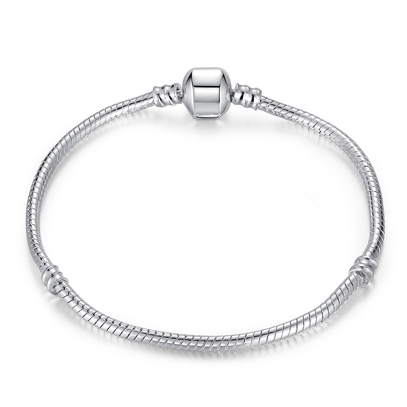 2015 Hot 925 Sterling Silver Snake Chain Fit Pandora Bracelet Charm Bead Jewelry Gift For Men Women Mother 16-21cm(China (Mainland))