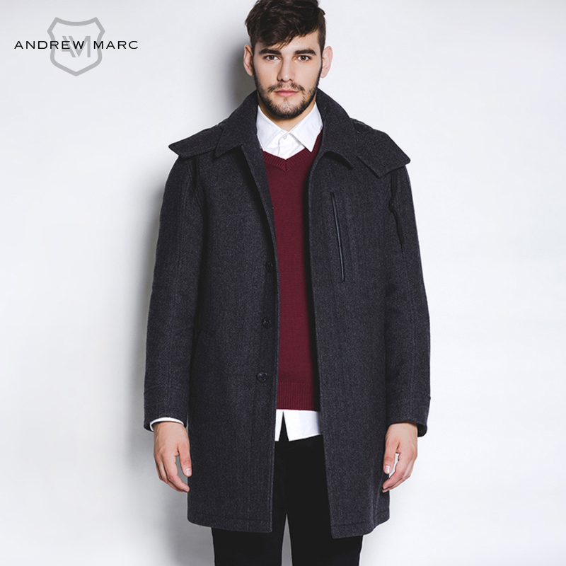ANDREW MARC Men Woolen Coat Winter Autumn Man Wool Jackets Overcoat Casual Stand Collar Middle Long Section TM5AW066(China (Mainland))