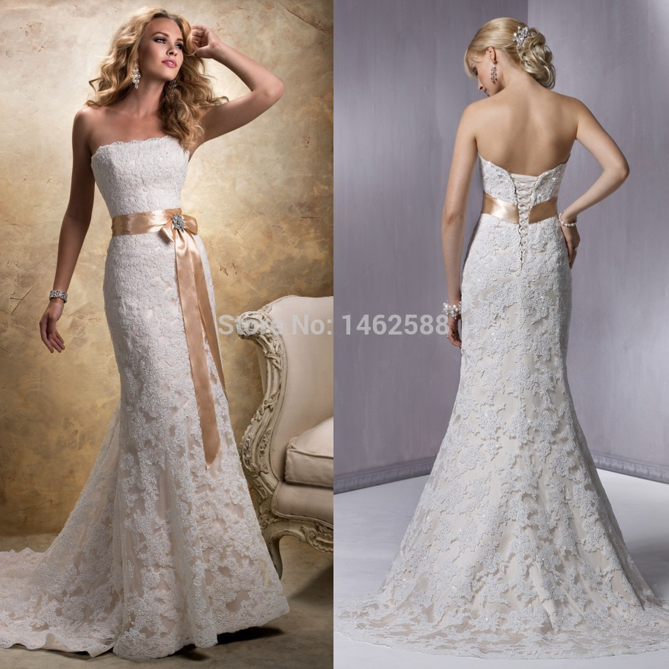 Mermaid style strapless champagne satin sashes lace for Satin mermaid style wedding dresses