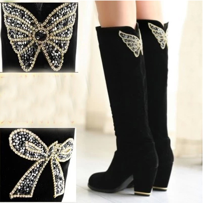 High Quality Suede Women Boots Autumn Winter High Knee Boots Sapatos femininos High Heels  Rhinestone Long Boots Plus Size 32-43<br><br>Aliexpress