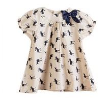 Wholesale Brand Summer Bow Girls Dress Deer Baby Kids Dresses Cotton Girl Blouse Dress Children Clothing Free Shipping(China (Mainland))
