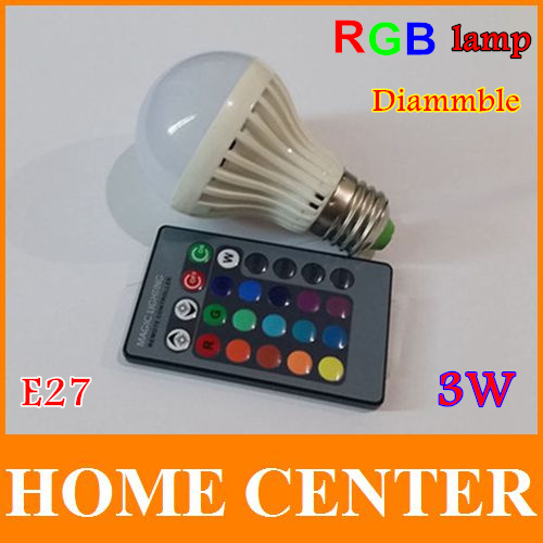 Colorful Led Spotlight  AC110~240V 3W E27Dimmable RGB LED Bulb Lamp 16 Color changing with Remote Control(China (Mainland))